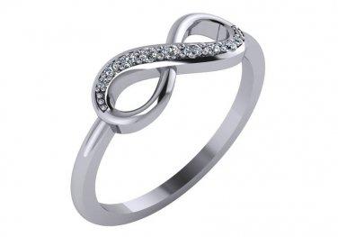 Diamond Infinity Ring 1/8 cttw Genuine Diamonds Size 6
