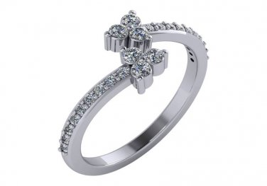 .40 ct Genuine Diamond Bypass Ring 14kt White Gold Size 5