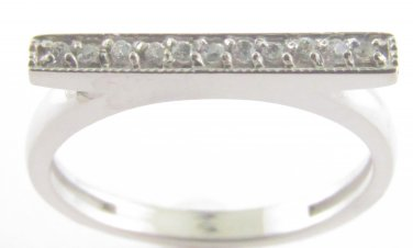 Genuine Diamond Bar Ring 10kt White Gold Size 4.5