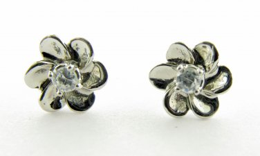 Genuine Diamond Flower Shaped Earrings 14kt White Gold Over Silver