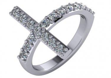 3/4 Carat Genuine Diamond Sideways Cross Ring 14k White Gold Size 5