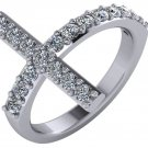 3/4 Carat Genuine Diamond Sideways Cross Ring 14k White Gold Size 6