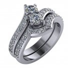 1.10 Carat Two Stone Diamond Engagement Ring Set 14Kt White Gold Sizes 4-9