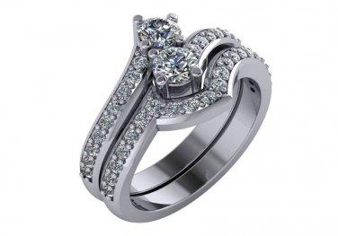 1.10 Carat Two Stone Diamond Engagement Ring Set 14Kt White Gold Sizes 4-9
