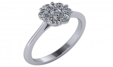 14K White Gold 1/2 Carat Genuine Diamond Engagement Ring Sizes 4-9