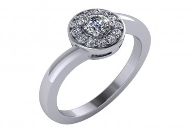 1/2 CT Round Diamond Halo Engagement Ring 14K White Gold Size 6