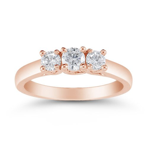 1/2 ct Genuine Diamond Three Stone Ring Engagement Ring 14 kt Rose Gold Sizes 3-9
