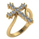 Large Diamond Cross Ring 14kt Yellow Gold 0.55 Carat Genuine Diamonds Size 4