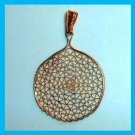 Vintage Round Lattice Design Yellow Gold plated Pendant