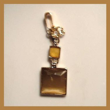 """Vintage Brown Inlaid 2 Square 1 Round Yellow Gold plated 2"""" inches long Pendant"""