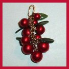 Vintage Red Currant Berries with Green Leafs Gold plated Pendant
