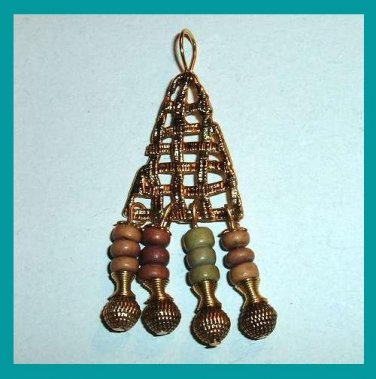 Vintage Tree Shape with Beaded Dangles Yellow Gold plated Pendant