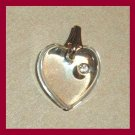 Vintage White Rhinestone in a Clear HEART Gold Pendant