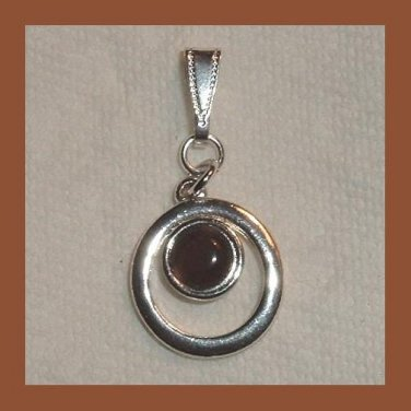 Vintage Round Chocolate Brown Cabochon in a Double Circle Sterling Silver Pendant