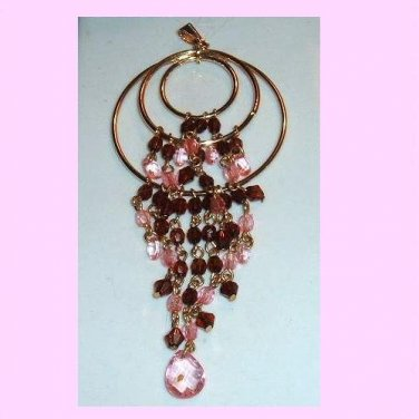 Large Triple Circle Brown & Pink Beaded Belly Dancer Gold plated Pendant