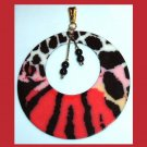 Red Black Pink White Jungle Cat Stripes Spots Beads Round Yellow Gold Tone Pendant