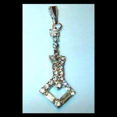 White Rhinestone Arrow Shaped Sterling Silver Pendant