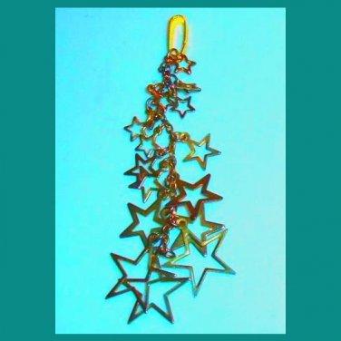 Vintage 16 Yellow Gold Tone STARS Dangle Pendant