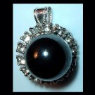 Vintage Round Black Faux Pearl & White Rhinestone Sterling Silver Pendant