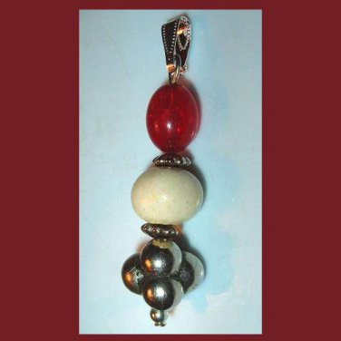 Vintage Red White Silver Beads Dangle Pendant