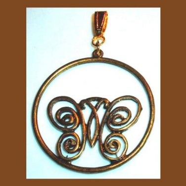 Vintage Butterfly in a Circle Hoop Yellow Gold Tone Pendant