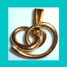 Circle Holding a Curlycue Circle Yellow Gold Tone Dangle Pendant