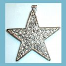 Vintage White Rhinestone STAR Sterling Silver Pendant