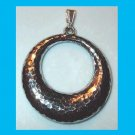 Hammered and Polished Design Hollow Circle Hoop Sterling Silver Pendant