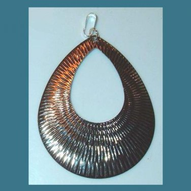 Teardrop Pear Shaped Star Burst Design Sterling Silver Pendant