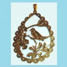 "Pear Shaped Fancy Design Bird Flowers 3"" Yellow Gold Pendant"