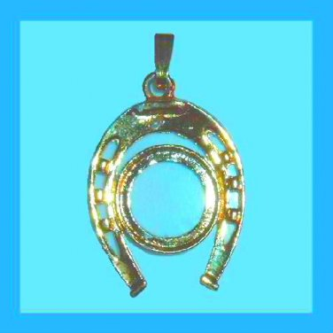 "Vintage Horseshoe and Circle 2"" inch Yellow Gold tone Pendant"