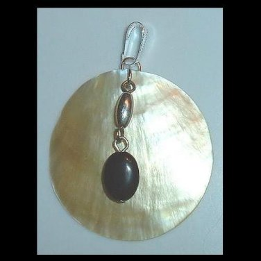 Round Sea Shell & Oval Black Onyx Sterling Silver Dangle Pendant