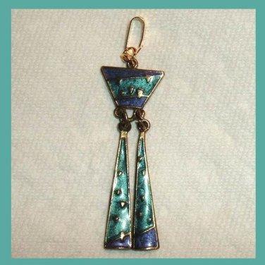 Turquoise & Purple Inlaid Enamel & Yellow Gold Dangle Pendant