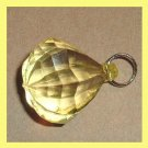 Yellow Faceted Octagon & Silver Circle Bail Pendant