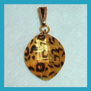 Marquise Shaped Leopard Spotted Design Yellow Gold Pendant