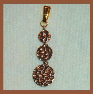 Round Graduated 3 Tier Hammered Design Brass & Yellow Gold Dangle Pendant
