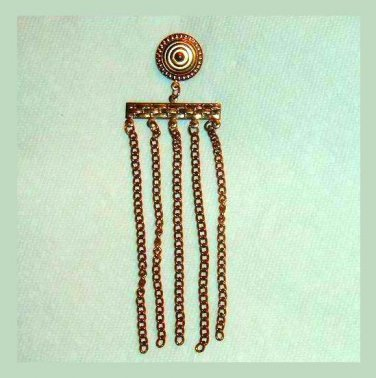 Vintage Fancy Design Circle & Bar & 5 Yellow Gold Tone Chains Dangle Pendant