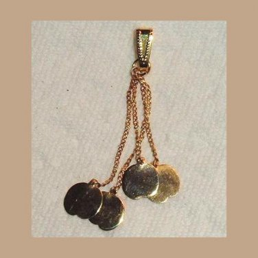 4 Yellow Gold Apples on Chains Dangle Pendant
