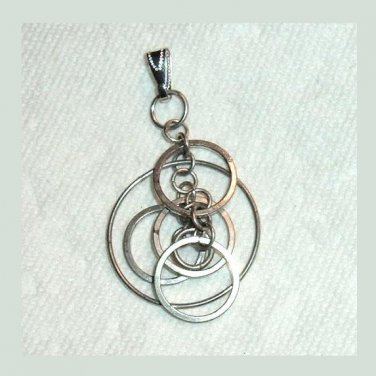 Vintage 6 Silver CIRCLES Dangle Pendant
