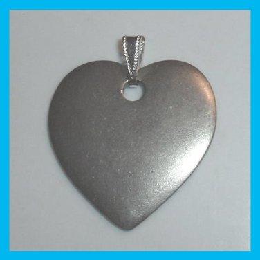 "Vintage Plain Pewter Heart 1 1/2"" inches long Pendant"