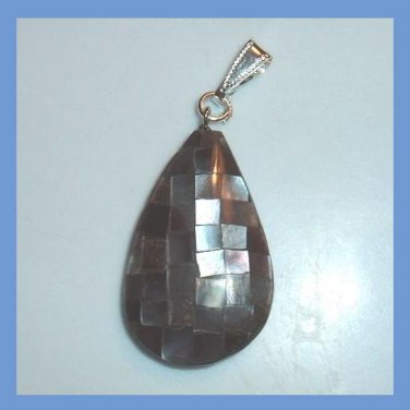 Mother of Pearl & Sea Shell Pear Shaped Silver Pendant