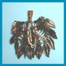 "Vintage Weird looking Leaves & Wire Brass 2"" inches long Pendant"