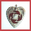 Vintage Pewter Heart with Inlaid Red Enamel Silver Pendant