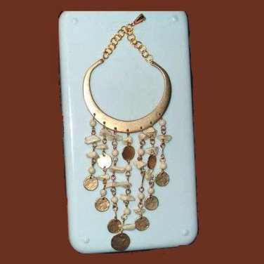 "Large Vintage Belly Dancer Half Moon Coin Seashell 6"" Inch Yellow Gold Pendant"