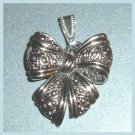 Vintage Marcasite Style Silver Decorative BOW Pendant