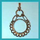 "Vintage Double Circle & Links Design Gold Tone 3"" inch Dangle Pendant"