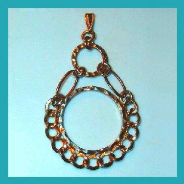 "Vintage Double Circle & Links Design Gold Tone 3"" inch Dangle Pendant"
