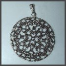 Marcasite style Intricate Design Pattern Sterling Silver Circle Pendant