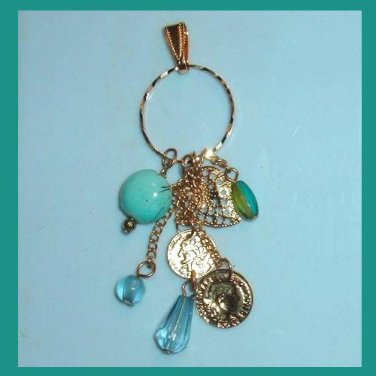 Vintage 3 Shades of Blue Beads & Coins Dangle Yellow Gold Circle Pendant