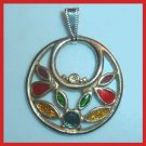 Vintage Inlaid Red Blue Yellow Green Purple Glitter Silver Circle Pendant